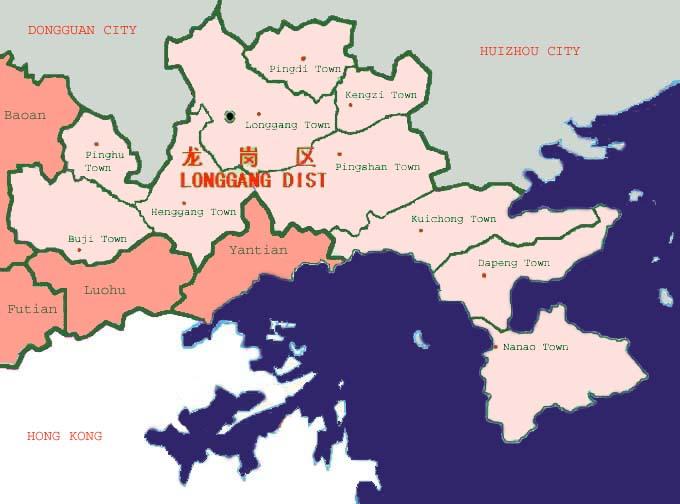 Longgang map